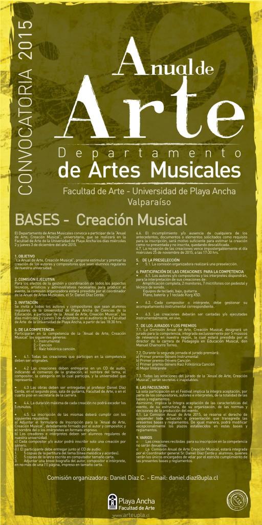 """Afiche """"Anual de Arte, Creación Musical 2015"""""""