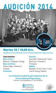 Afiche audición Big Band UPLA