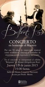 El concierto homenaje se realizará el jueves 18 de junio a las 19.00 horas en el Congreso Nacional