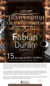 El artista se presentará el viernes 15 de mayo a las 12.00 horas en la Facultad de Arte UPLA