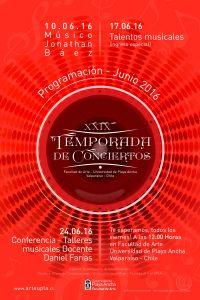 Afiche conciertos junio de 2016