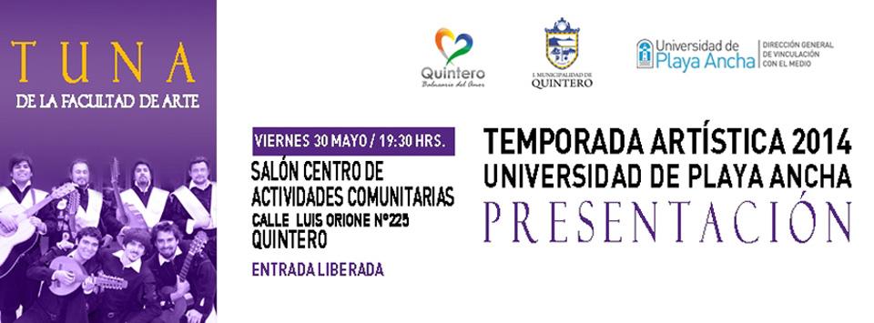 Tuna de la Facultad de Arte se presentará en Quintero