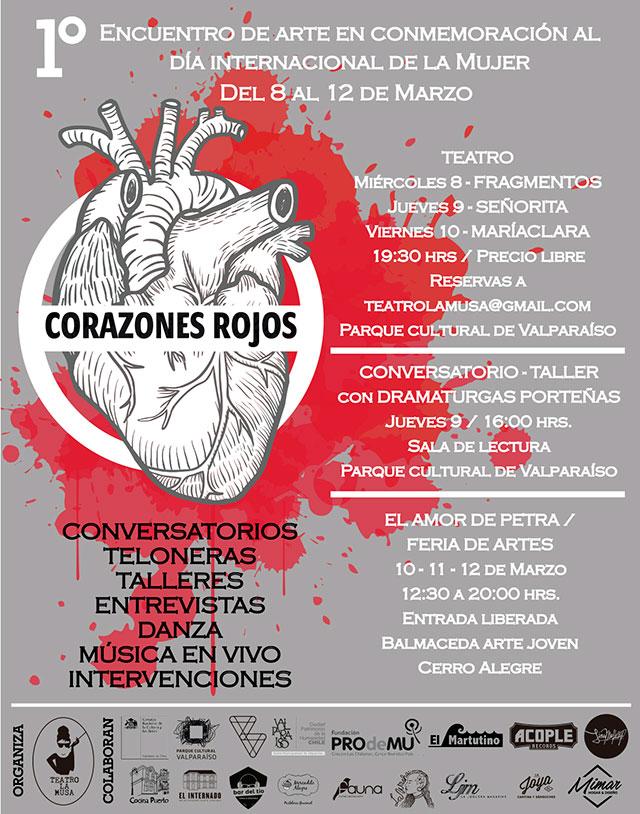 Afiche Corazones Rojos