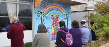 Estudiantes de Artes Plásticas pintaron mural en Hospital del Salvador