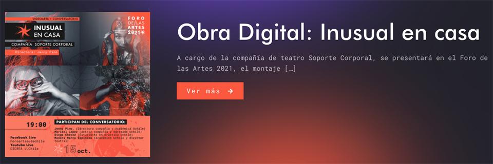 """""""Inusual en Casa"""" se exhibirá en Foro de las Artes de la Universidad de Chile"""