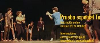 Carrera de Teatro UPLA abre postulaciones para Prueba Especial 2021