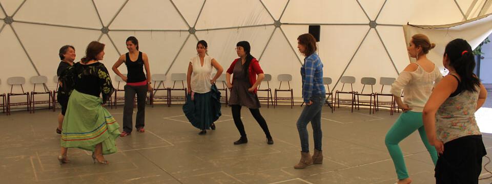 Taller de danzas tradicionales de América se desarrolla en domo de la Facultad de Arte